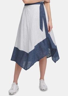 Dkny Striped Asymmetrical-Hem Skirt