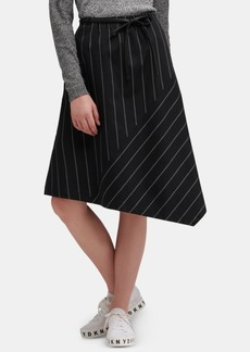 Dkny Striped Asymmetrical-Hem Skirt With Faux-Leather Belt