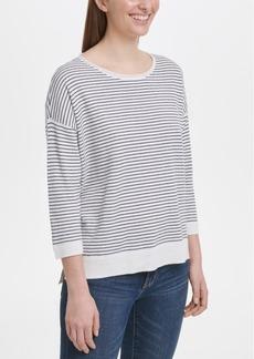Dkny Striped Drop-Shoulder Sweater