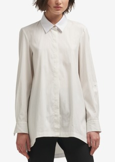 Dkny Striped High-Low Button-Front Shirt, Created for Macy's
