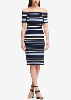 Dkny Striped Off-The-Shoulder Dress
