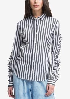 Dkny Striped Ruffle-Sleeve Shirt