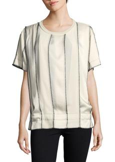 DKNY Striped Short Sleeve Top