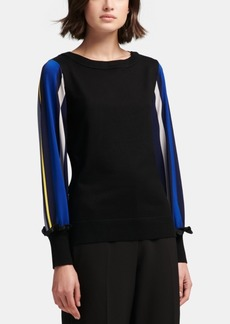 Dkny Striped-Sleeve Crewneck Sweater, Created for Macy's