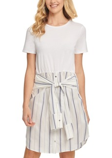 Dkny Striped Tie-Waist T-Shirt Dress