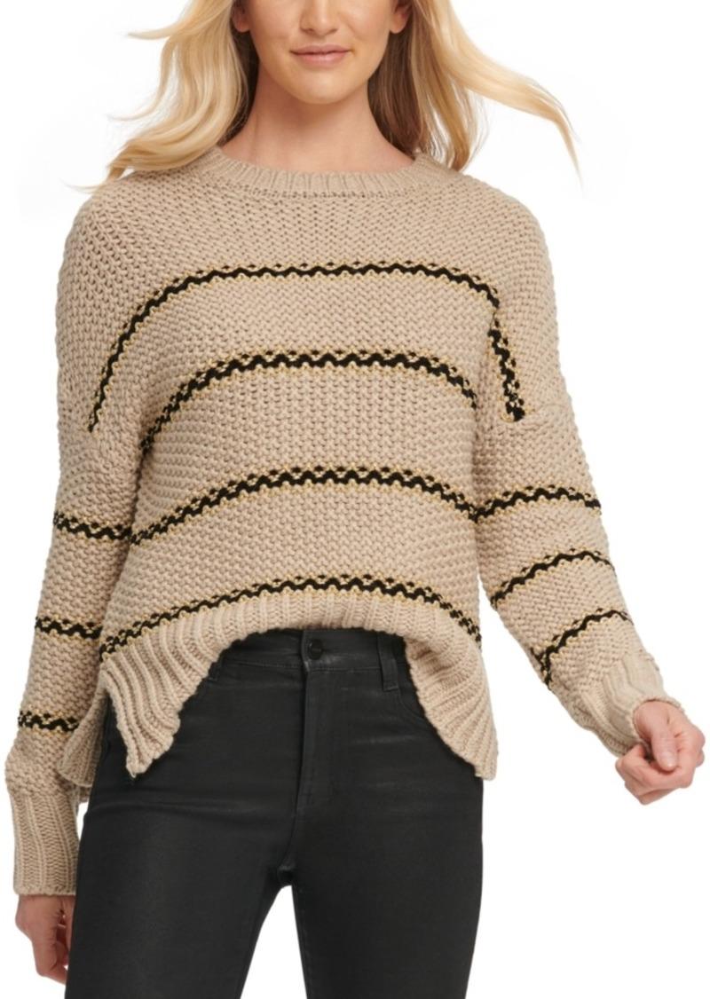 Dkny Striped Vented-Hem Sweater