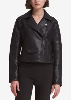 Dkny Studded Faux-Leather Moto Jacket