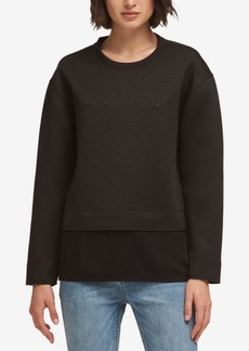 Dkny Studded Layered-Look Sweatshirt