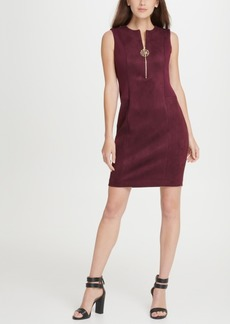 Dkny Suede Ponte Combo Logo Zipper Sheath Dress