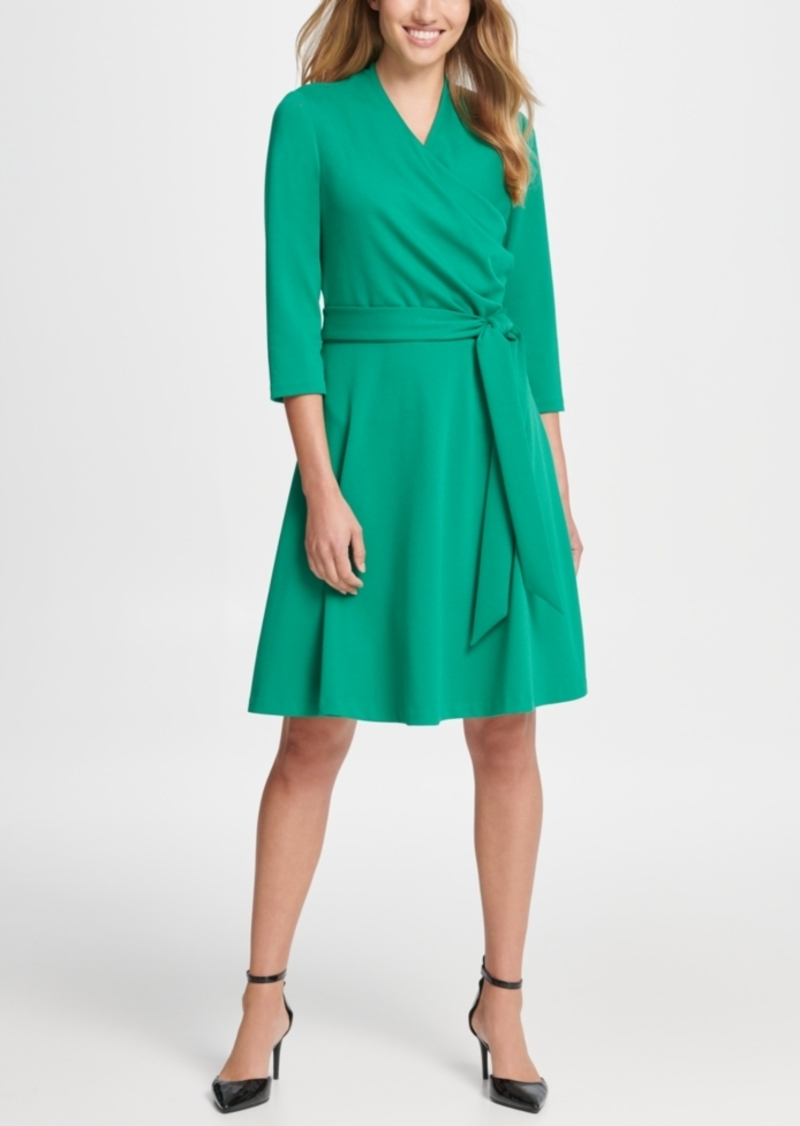 Dkny Surplice Ponte Fit & Flare Dress