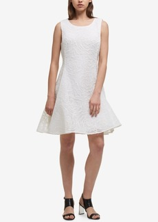 Dkny Textured Mesh Fit & Flare Dress, Created for Macy's