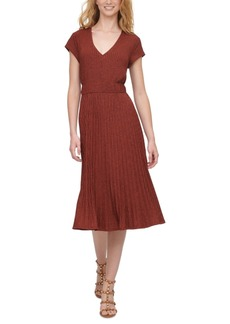 Dkny Textured Midi V-Neck Knit Dress