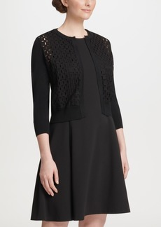 Dkny Three-Quarter-Sleeve Lace Front Cardigan