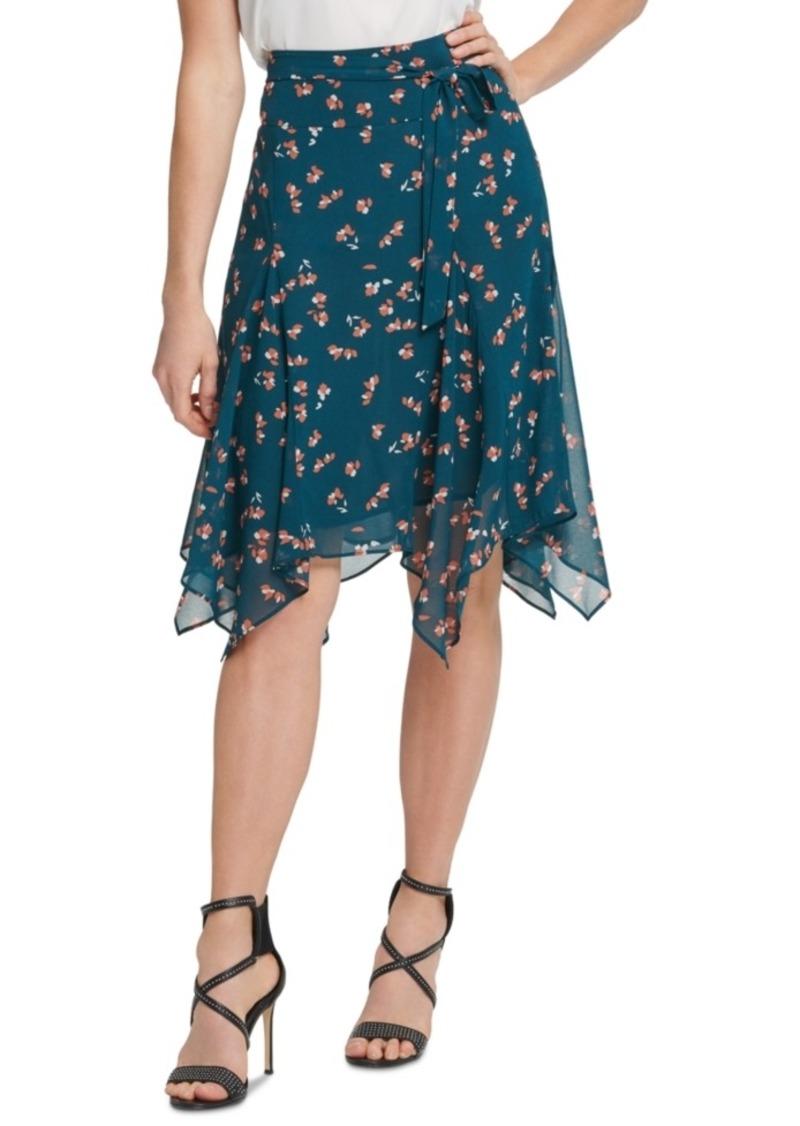Dkny Tie-Belted Handkerchief-Hem Skirt