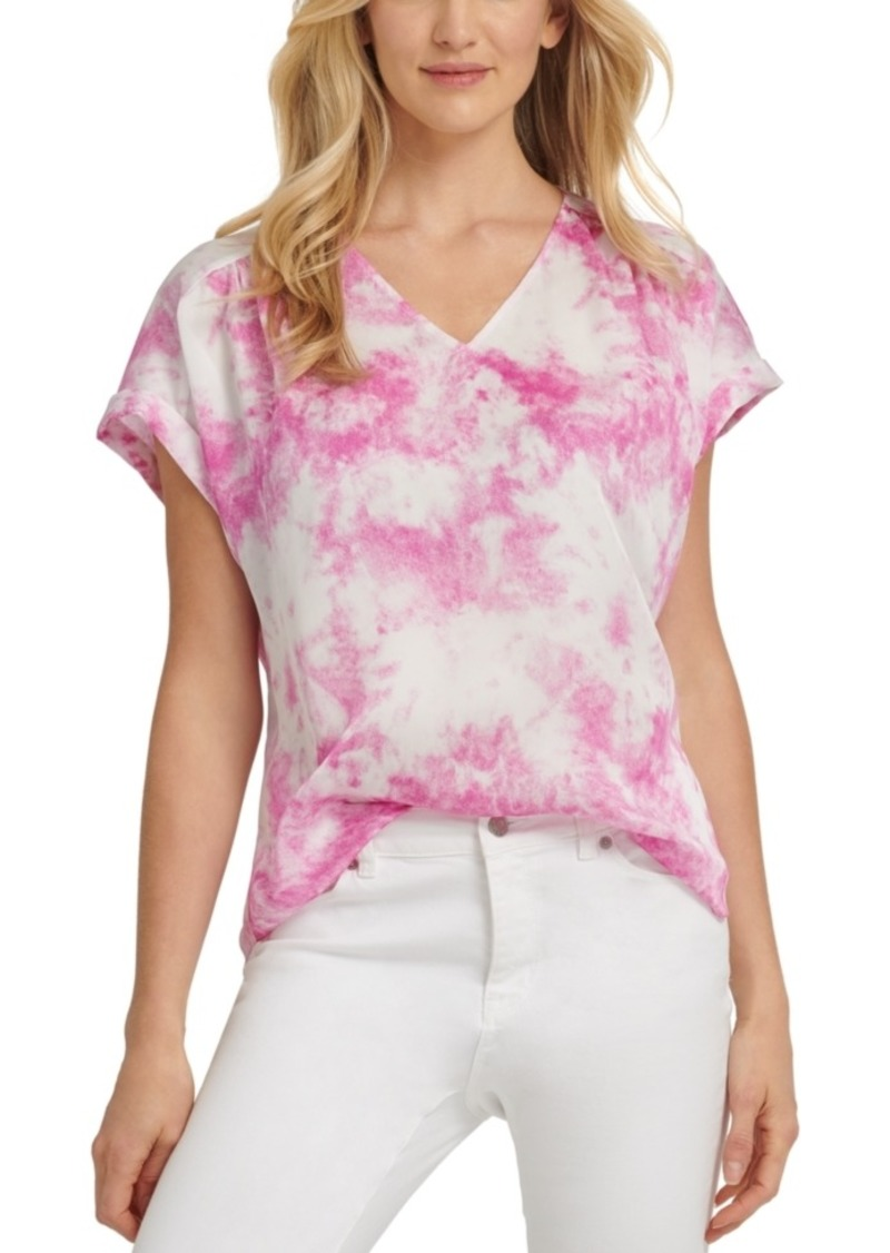 Dkny Tie-Dye-Print V-Neck Top