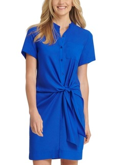 Dkny Tie-Front Button-Up Dress