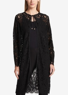 Dkny Tie-Neck Lace Duster