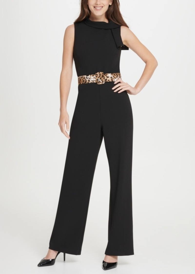 Dkny Tie Neck Leopard Belt Jumpsuit