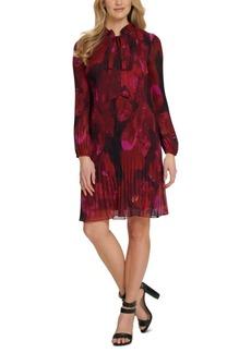 Dkny Tie-Neck Mini-Pleated Dress