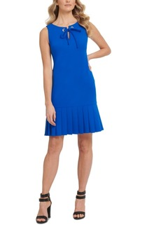 Dkny Tie-Neck Pleated-Hem Dress