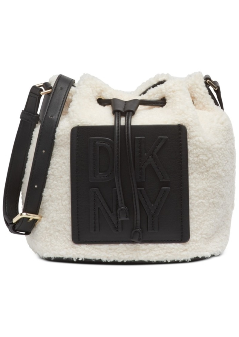 Dkny Tilly Stacked Logo Sherpa Drawstring Bucket Bag, Created For Macy's