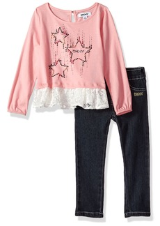 DKNY Toddler Girls' Fashion Top and Pant Set (More Styles Available) 1056DG Peony Pink