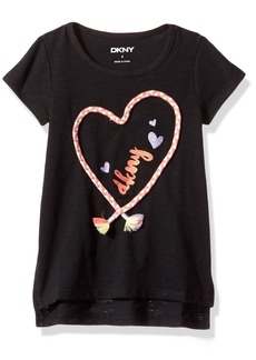 DKNY Toddler Girls' Short Sleeve T-Shirt (More Styles Available) 1009DG Black