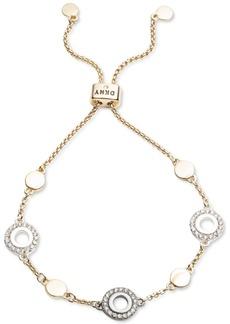 Dkny Tri-Tone Pave Circle Slider Bracelet