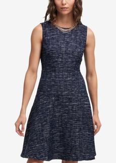 Dkny Tweed A-Line Necklace Dress