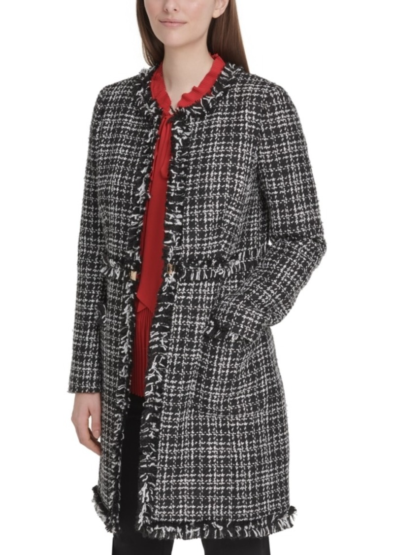 Dkny Tweed Plaid Topper Jacket