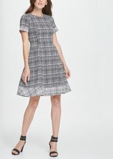 Dkny Twin Print Short Sleeve Fit Flare Dress