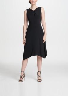Dkny Twist Neck Jersey A-line Dress
