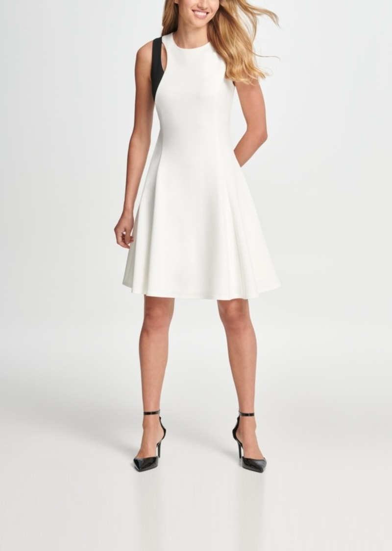 Dkny Two Tone Cutout Fit & Flare Dress