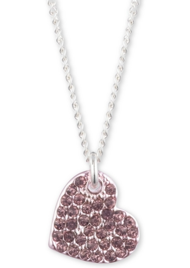 """Dkny Two-Tone Micropave Heart Pendant Necklace, Created For Macy's, 16"""" + 3"""" extender"""