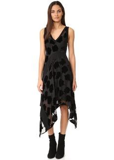 DKNY V Neck Dress with Ribbed Inserts