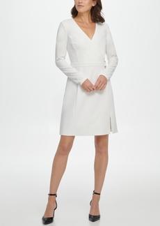 Dkny V-Neck Faux Wrap D-Ring Fit & Flare Dress