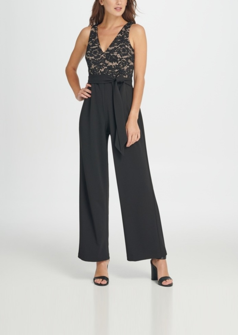 Dkny V-Neck Lace Top Jumpsuit