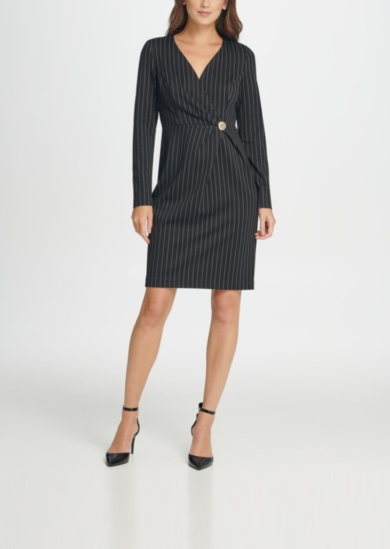 Dkny V-Neck Pinstripe Gold Button Coat Dress