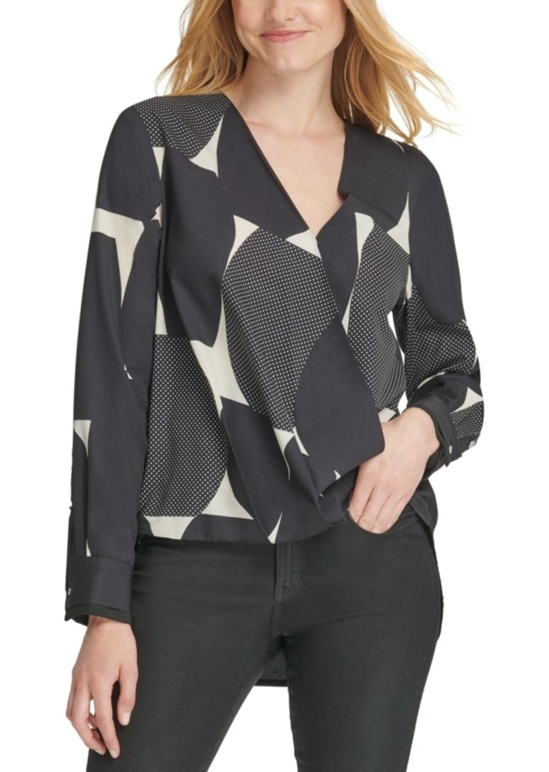 Dkny V-Neck Printed Wrap-Front Top