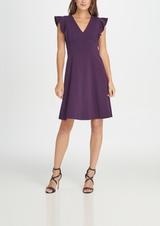 Dkny V-Neck Ruffle Cap Sleeve Fit Flare Dress