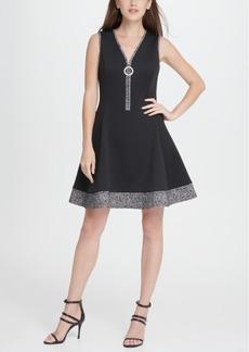 Dkny V-Neck Scuba Tweed Combo Zipper Fit Flare Dress
