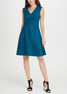 Dkny V-Neck Suede Seamed Fit Flare Dress