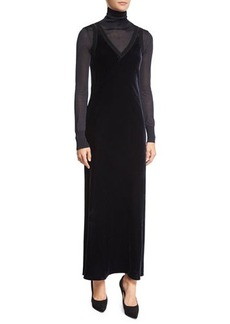 DKNY Velour Ribbed-Trim Maxi Slip Dress