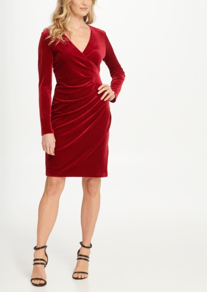 Dkny Velvet Side Ruche Sheath Dress