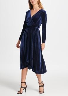 Dkny Velvet V-Neck Wrap Dress