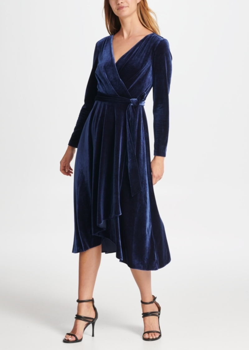 Dkny Velvet V-Neck Wrap Dress