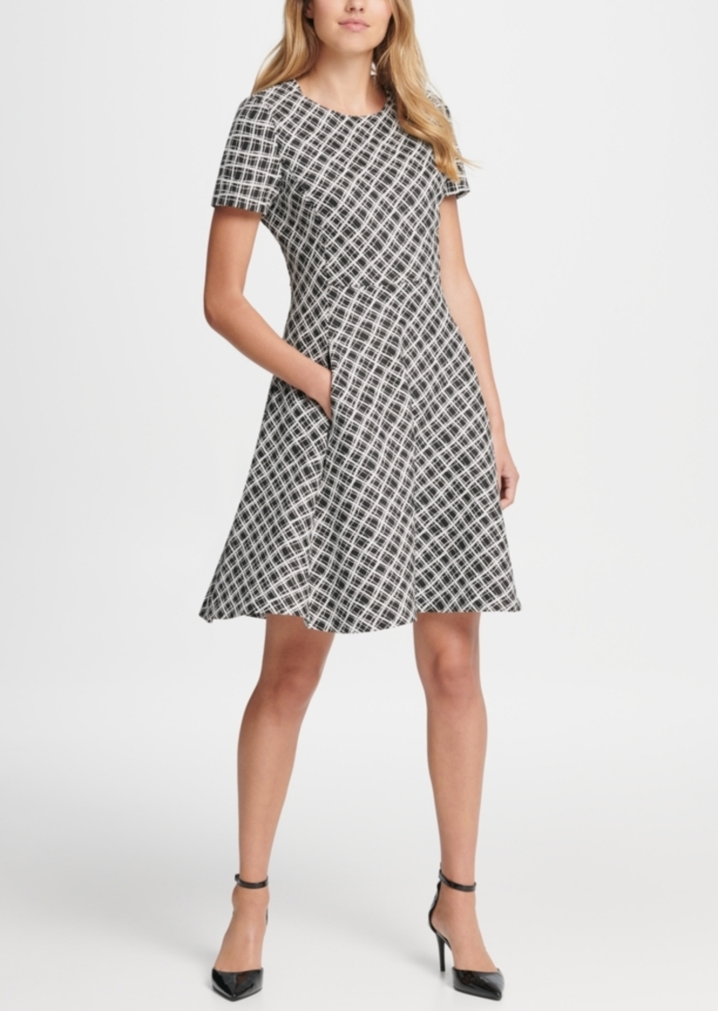 Dkny Wavey Plaid Short Sleeve Fit & Flare Dress
