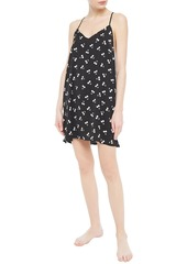 Dkny Woman After After Party Printed Crepe De Chine Chemise Black