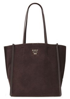 Dkny Woman Allen Leather-trimmed Suede Tote Chocolate