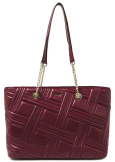 Dkny Woman Allen Medium Quilted Leather Tote Burgundy